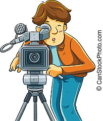 Cameraman Shoot The Cinema - cartoon illustration of...