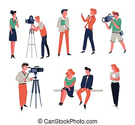 Cameraman show hosts or reporter and TV show or interview ...