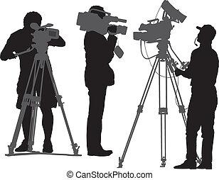 cameraman, silhouette