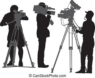 Cameraman Silhouette on white background