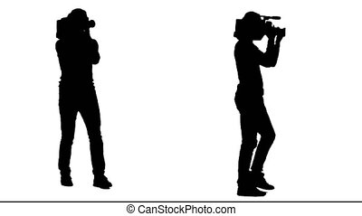 Cameraman steps with the camera on his shoulder. White background. Silhouette. Side view. 2 in 1.