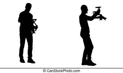 Cameraman steps with the camera on his steadicam. White background. Silhouette. Side view. 2 in 1.