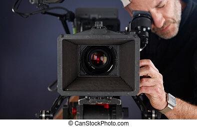 cameraman, trabalhando, com, um, cinema, câmera