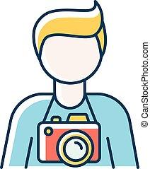 cameraman., vecteur, photographie, indépendant, illustration, camerist., isolé, bleu, art., paparazzi, photojournaliste, photo, employé, photographe, studio, couleur, professionnel, opérateur, rgb, icon.