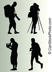 cameraman, vector, silhouette, set, achtergrond