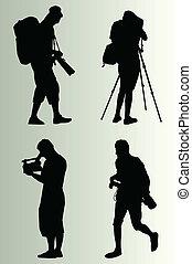 cameraman, vettore, silhouette, set, fondo