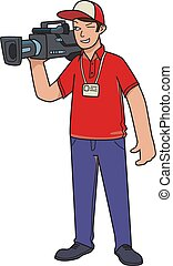 Cameraman, videographer. The man with the video camera. Cartoon vector illustration isolated on white background.