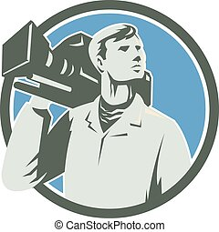 Illustration of a cameraman holding a vintage movie video camera on shoulder looking to the side set inside circle on isolated background done in retro style.