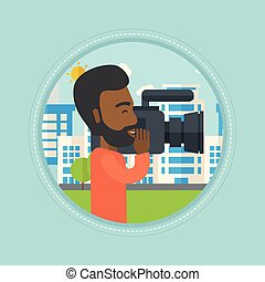 Cameraman with video camera vector illustration.
