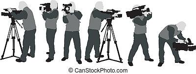 cameramans, silhouette