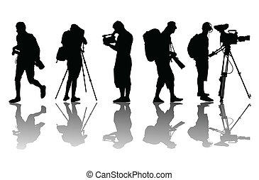 Cameramen and camcorder video operator vector background