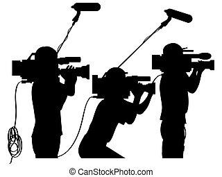 Cameramen at work - Cameraman at work silhouettes side view