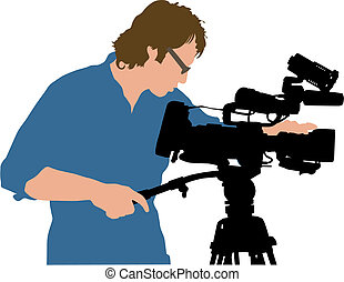 Cameramen - Vector illustration of professional working with...