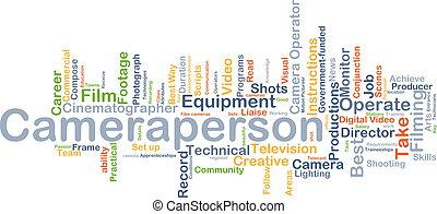 cameraperson, concept, achtergrond