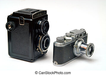 cameras, öreg, két