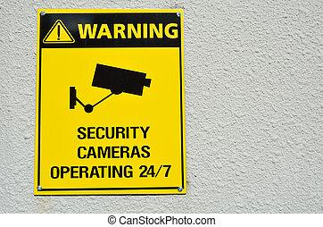 cameras, cctv, signe jaune, avertissement, sécurité