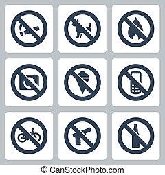 """cameras, chiens, alcool, téléphones, non, """"prohibitory, bicycles, brûler, glace, cellule, signs"""", vecteur, fusils, set:, icônes, fumer"""