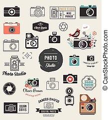 cameras, ensemble, éléments, icônes, photo, photographe, studio