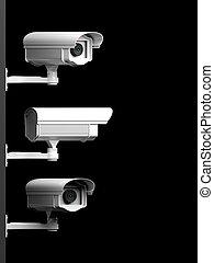 cameras, isolato, sorveglianza, nero, tre, fondo, sicurezza, vista laterale