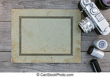 cameras, lenzen, oud, houten, negatief, oppervlakte, papier, retro, film