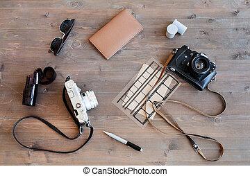 Cameras of retro photographer
