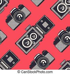 cameras, padrão, seamless, vetorial, retro, fundo, vindima