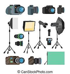 cameras, photography., satz, elemente, wohnung, foto, photographie, modern, freigestellt, abbildung, accessories., ausrüstung, professionell, design, digital, vector., photograph- studio, objects., werkzeuge, karikatur