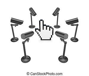 cameras, pozorování, cursor., dokola