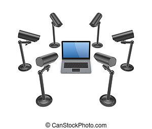 cameras, pozorování, notebook., dokola