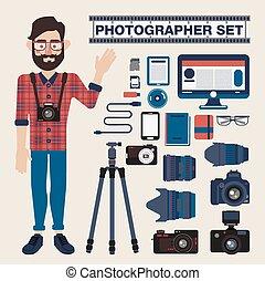 cameras,  set, fotografo,  -, apparecchiatura, foto, professionale, lenti