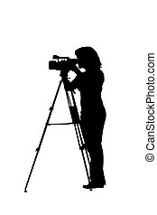 silhouette camerawoman with tripod and camera