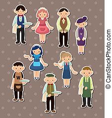 cameriere, adesivi, cartone animato, cameriera