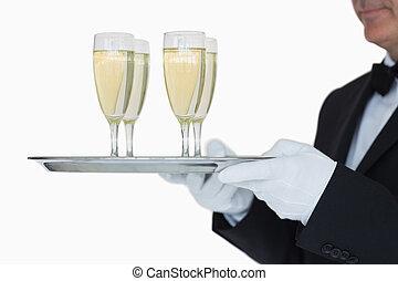 cameriere, carrello porta, pieno, vetri champagne