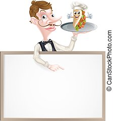 cameriere, cartello, cartone animato, kebab