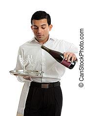 cameriere, colatura, barista, o, vino