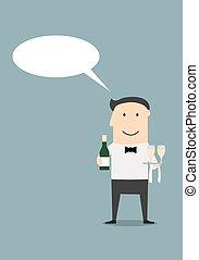 cameriere, con, champagne, e, vetri vino