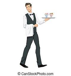 cameriere, con, gelato