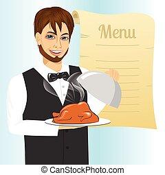 cameriere, con, vassoio, servire, arrostito, pollame