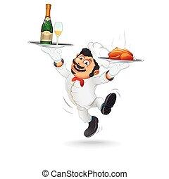 cameriere, divertente, vassoio., cibo, vettore