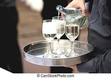 cameriere, festa, servire