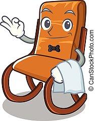 cameriere, forma, sedia, oscillante, cartone animato
