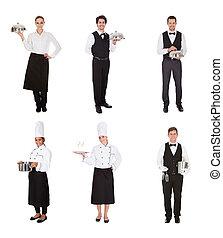 cameriere, gruppo, cameriera