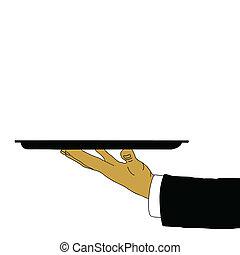 cameriere, mano, vettore, vassoio, illustrazione