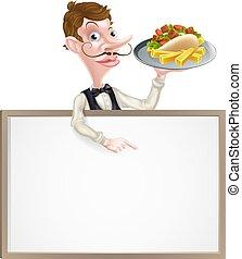 cameriere, patatine fritte, cartone animato, kebab, segno