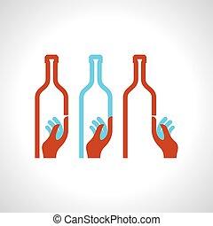 cameriere, portante, bottiglia, vino