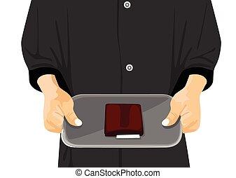 cameriere, presa a terra, uno, vassoio, con, uno, assegno, su, esso