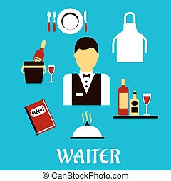 cameriere, professione, con, appartamento, tableware, icone