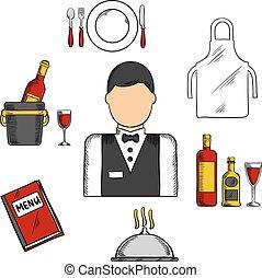 cameriere, professione, con, cibo, e, ristorante, icone