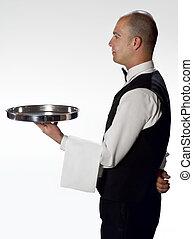 cameriere, profilo, vassoio