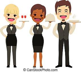 cameriere, ristorante, squadra